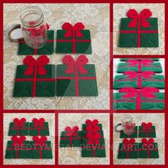 Present/Gift with bow coaster set of 4 This pattern is my own creation, I saw something similar but wanted to change some things and this is what I came up with. They are green presents with red ri...