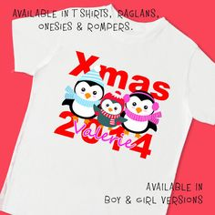 Penguins Xmas Christmas 2014. Personalized T Shirt Raglan Onesie Romper. 1st First Holiday New Year Fox Deer Monkey Giraffe Bird Owl (8001G)