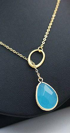 modern sky blue glass necklace from EarringsNation