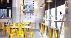 """amandakayhughes: """" Superette :: The beautifully designed cafe in Cape Town """" Cafe Restaurant, Restaurant Design, Yellow Restaurant, Modern Restaurant, Coffee Shop Interior Design, Bar Interior, Commercial Design, Commercial Interiors, Restaurant Interior Design"""