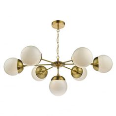 Decorative Antique Brass 7 Light Sputnik Pendant with Opal Globes