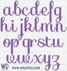 WR Artes (Blog do Wagner Reis): Alfabeto cursivo e simples de ponto cruz