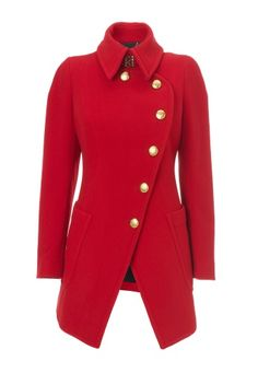 Anglomania Item: 85232 This striking red woollen coat has got true Westwood style with a high collar and curving front panel that flows into the cut away skirt, whist the fuller back skirt is complimented by a fitted waist and upper back bodice. Finished with golden buttons bearing the Westwood Crest this military inspired piece is an essential addition to your winter wardrobe.