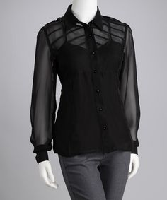 Only 15.99 -- Take a look at this Black Sheer Button-Up Top by Madison Paige on #zulily today!