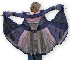 """""""Amethyst Dreams"""" recycled patchwork sweater coat by GreenOakCreations on etsy.com"""