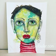 Been experimenting a lot lately. Thought I'd start sharing these new weird and wonderful portraits. . . . #kyliefowler #mixedmedia #mixedmediaart #experimenting #stylized #portrait #whimsical #illustration #artwork #face