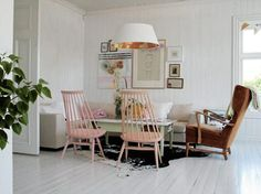 unexpected arrangement (and great pink chairs)