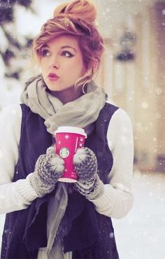 Cute Fluffy Outfit With Hair Bun For Winter Fashion-
