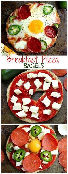 Breakfast Pizza Bagels! Step by step photos to make this delicious meal in minutes!!!