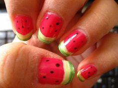 Cool nail art design, watermelon Nail Art