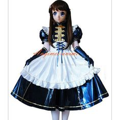 Free Shipping Blue-White Sexy Sissy Maid PVC Lockable Dress Uniform Cosplay Costume Tailor-made
