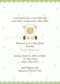 Lamb Baby Shower Invitation...adorable