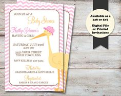 Stork Baby Shower Invitation, It's A Girl Baby Shower, It's A Girl Invitation, Stork Shower Invitation, Pink Chevron, Digital or Printed