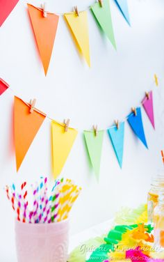 Obst How To Create Creative Saint John Flags Rainbow Party Decorations, Diy Birthday Decorations, Rainbow Birthday Party, Birthday Diy, Diy And Crafts, Crafts For Kids, Paper Crafts, Happy B Day, Art Party