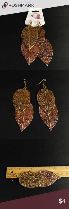 Leaf Earrings Two Tone Metal NWT  • Gold and Rose Gold Plated Metal • Lead Safe • Lightweight • Large • No filter or flash was used  Mailed within 24 hour's even on holidays  { I will confirm with buyer's if they have viewed all photos before shipping, so there's no confusion on the size of this product. Of buy does not confirm order will not be shipped } Jewelry Earrings