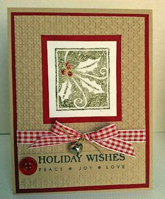 handmade Christmas card from Laura's Creative Moments ... country charm in kraft with red mats and gingham ribbon ...  like the stamped holly with bling for berries l ... wonderful card!!