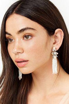 Faux Gem Beaded Fringe Drop Earrings