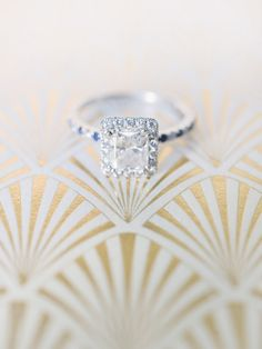 Square cut engagement ring: http://www.stylemepretty.com/california-weddings/san-francisco/2014/05/16/1920s-themed-san-francisco-wedding/ | Photography: Michele Beckwith - http://michelebeckwith.com/