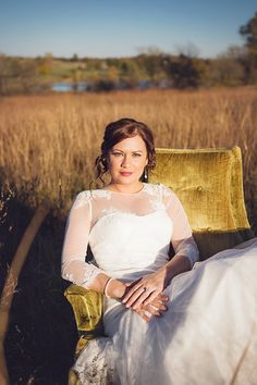Kansas City wedding by  www.wthestudio.com  Bride in the tall grass, antique velvet chair, bridal photos