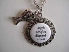 Angels Are Often Disguised As Sons Floral Filigree Necklace or Key Chain Memorial Jewelry
