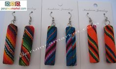 50 pair of Manta Inca Peruvian textile tube earrings, jewelry from Peru, made with alpaca silver. Cusco blanket earrings from Peru. US $ 85.00 free shipping from peruincamarket