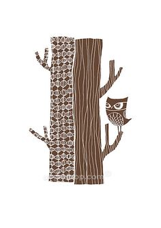 Tree Trunk Owl in Chocolate Brown - Signed Giclee Art Print (A4 Paper Size). $20,00, via Etsy.