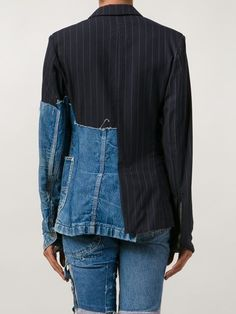 Greg Lauren Patchwork Distressed Denim Blazer - The Parliament . Denim Blazer, Blazer With Jeans, All Jeans, Denim Shirts, Denim Jeans, Blazer Jacket, Estilo Jeans, Fashion Details, Fashion Design