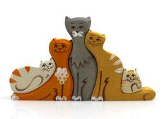 Wooden Puzzle Cat Family Toy, Natural Organic Eco Friendly Waldorf Education Children Baby Kids Game by WoodlandToy on Etsy https://www.etsy.com/listing/212254011/wooden-puzzle-cat-family-toy-natural