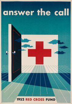 [1952 / carteles para la Cruz Roja de EEUU] JOSEPH BINDER (1898-1972) 2º éxodo: APORTACIÓN EUROPEA. Nace en Viena, Austria y en 1934 huye del nazismo y se instala en NY.  _su estilo recibe influencias de Kolo Moser (SECESIÓN VIENESA), del CUBISMO y de la Escuela de STIJL (NEOPLASTICISMO). _reducción de la composición a FORMAS GEOMÉTRICAS. _uso psicológico del COLOR (simbolismo América) _movimiento.