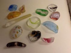 Tumbled Art Glass from Red Shovel Glass Co. just arrived-a small sample of the treasures-use on light table and in water table.....