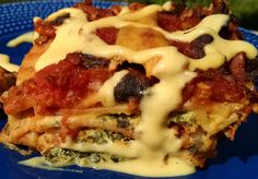 This lasagna includes recipes for tofu ricotta and cheese sauce. Kind of like a 3-in-1 deal. Love this stuff!