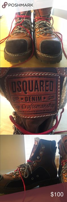 DSquared Denim boots Dsquared boots - very high quality, only worn a couple of times,  great condition. Blue and leather outside,  flannel on the inside with a fluff trim on the tongue.  Has 2 different sets of laces. Fits somewhere between an 11 and 11.5 DSQUARED Shoes Boots