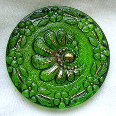 LG Czech Glass Button  Transparent Green Glass w/ by ButtonOdyssey