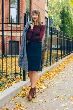 Wool ruffle cuff sweater + navy pencil skirt + brown booties + tweed coat