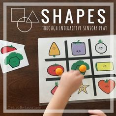 2D Shape Identification Activity: The Tic Tac Splat series is an exciting game that encourages quick thinking, shape identification, match making, reading and turn taking all while having fun through sensory play!