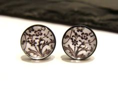 Dark Oxidised Sterling Silver Black and White Floral Pappterned Altered Art Stud Earrings by Graceful Deviant. $20.00, via Etsy.