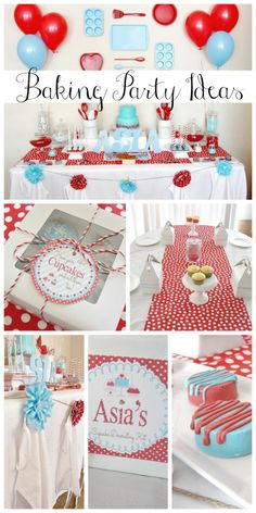 How fun is this baking girl birthday party! Love all the baking party decorations, and the cupcake decorating activity! See more party ideas at CatchMyParty.com.