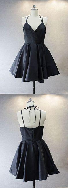 Simple V-neck Sleeveless Short Black Taffeta Homecoming Dress with Spaghetti Straps