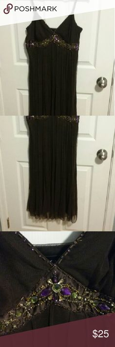 Brown Beaded Dress Brown pleated skirt dress with beading along the bust mixit Dresses Midi