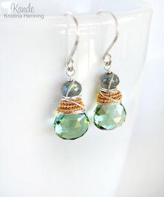 Green Gemstone Earrings Drop Dangle Wire Wrapped Sterling Silver Labradorite Sage Celadon Kande. $38.00, via Etsy.