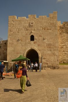 "OLD CITY OF JERUSALEM - Herod's Gate, also called the Flowered Gate ""Babl ez-Zahr "" - This gate, named for King Herod Antipas, is located east of Damascus Gate in the northern wall, some ways inside from the northeastern corner of the city. It leads into the Muslim Quarter."