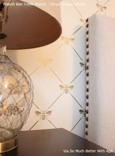 Add a touch of French elegance to your wall with our French Bee Trellis Wall Stencil. This allover damask wallpaper stencil features a classic Napoleonic Bee set in an allover trellis pattern. Bee Stencil, Stencils, Wallpaper Stencil, Stencil Walls, French Wallpaper, Trellis Pattern, Decoupage, Royal Design, Bees Knees
