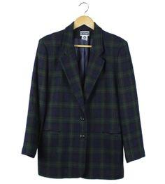 Vintage navy and green checked tartan blazer by FannyAdamsVC, $40.00