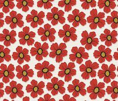 retro blossom red fabric by fabgirl42 on Spoonflower - custom fabric