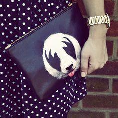 'KISS of a panda' clutch/pouch/wristlet bag designed by Robert Farkas.