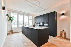 Black kitchen with herringbone floor, Black kitchen with herringbone floor. Ikea New Kitchen, My Kitchen Rules, Plywood Kitchen, Ikea Kitchen Cabinets, Kitchen Interior, Home Interior Design, Kitchen Dining, Kitchen Decor, Black Kitchens