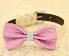 Lavender and Gray bow tie collar, Bow attached to dog collar, Purple wedding accessory, dog birthday gift, Gray and purple, dog collar