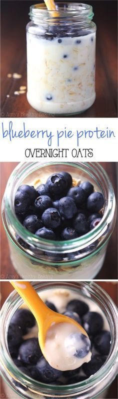 Blueberry Pie Protein Overnight Oats -- just 5 healthy ingredients & 16g+ of protein! Eat dessert for breakfast without any guilt!