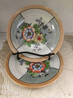 1930/'s or 1940/'s Saucers Desert Plates Vintage Floral Japanese Lustreware Dishes Iridescent Orange with Flowers Teacups