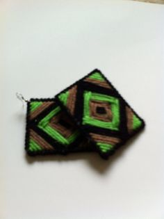 Handmade square yarn earrings custom order by DesignsbyTiffanyJ, $10.00